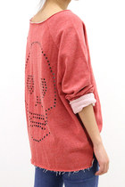 Skull Cutout Vintage Sweatshirt [RED]