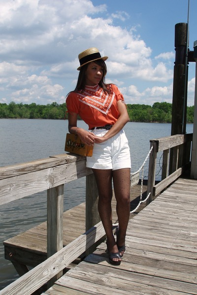 orange Vintage Judy Bond blouse - white thrifted shorts - brown Enid Collins pur