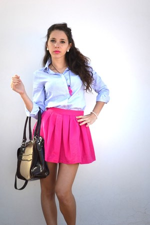 hot pink Bershka skirt - light blue Mango shirt - light brown VAAG bag