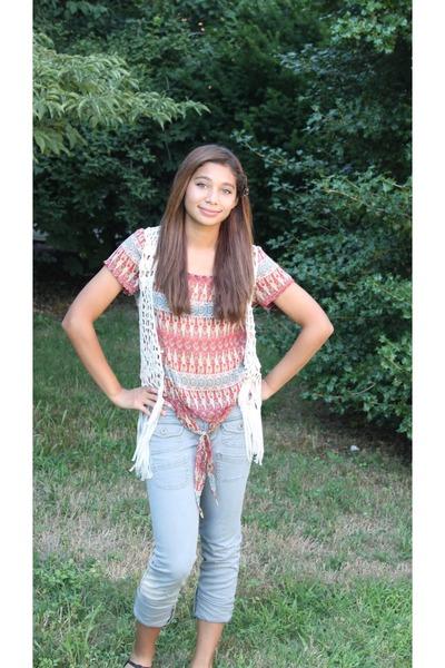crochet fringe American Rag vest - American Rag top - skinny cargos Mandee pants