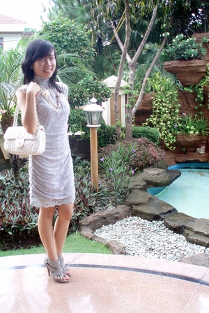 gray for miss dress - gray Forever 21 shoes - white Chanel accessories - beige u