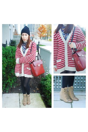 brick red Forever 21 cardigan - camel Aldo boots - navy H&amp;M shirt