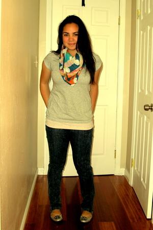 Zara scarf - Target shirt - LF jeans - tory burch shoes