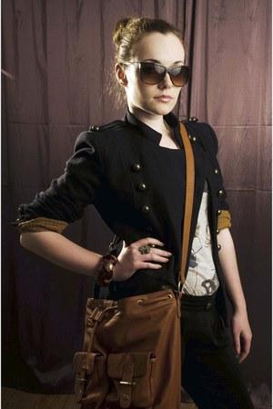 navy New Yorker jacket - black DIY leggings - camel Bershka bag