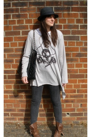 H&M hat - Zara top - Matalan accessories - Topshop jeans - Priceless Shoes boots
