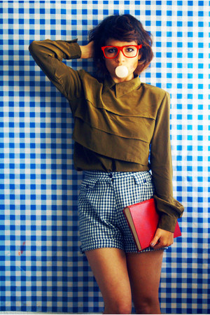 high waisted vintage shorts - vintage blouse
