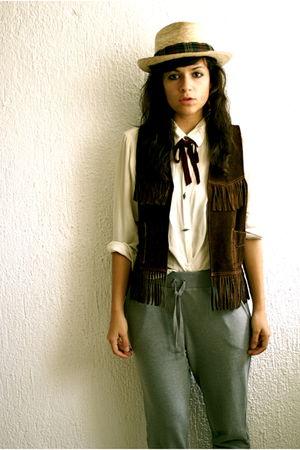 Cowboy shop vest - Zara pants - vintage blouse