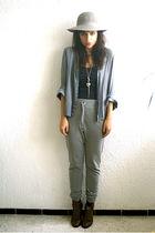 vintage blouse - Top Shop necklace - H&M top - Zara pants - vintage boots - vint