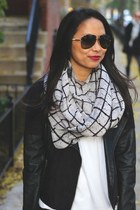 black leather jacket - white James Perse shirt - infinity scarf