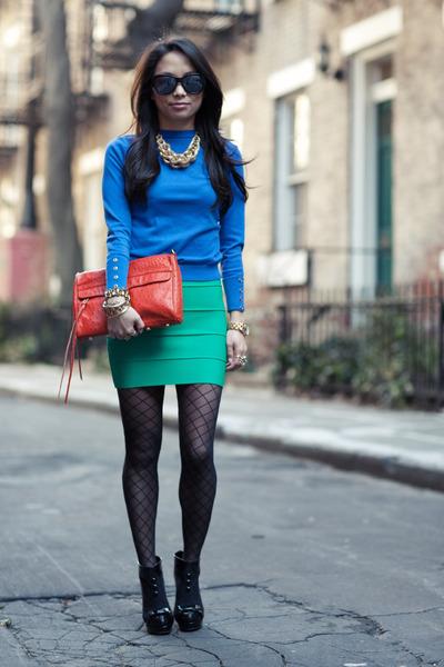 blue Zara sweater - carrot orange Rebecca Minkoff purse - chartreuse BCBG skirt