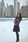 Black-suede-michael-kors-boots-blue-satin-vintage-jacket
