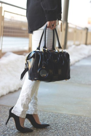 black satchel balenciaga bag - white white Zara jeans
