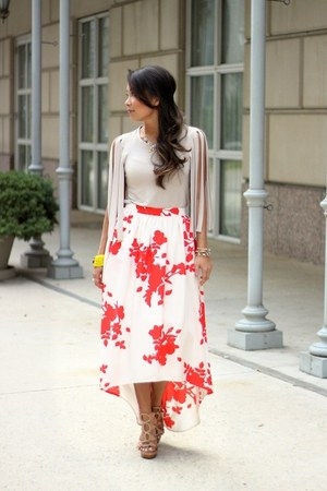 red Rules of Etiquette skirt - light brown rope wedges dvf wedges