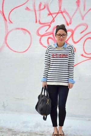 ivory striped talbots sweater - black skinny Hudson jeans