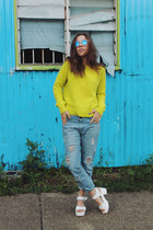 yellow neon knit Three Of Something sweater - blue boyfriend jeans OASAP jeans
