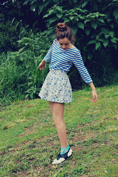 floral print handmade shorts - striped handmade top