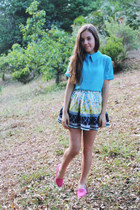 white printed Faith & Lola skirt - sky blue collar Koogal top