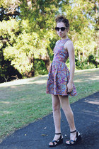 bubble gum paisley MIKA & GALA dress - round Dotti sunglasses