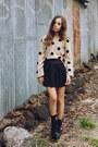 Black-shel-boots-off-white-lulus-sweater-black-pleated-denim-topshop-skirt