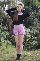 amethyst Motel Rocks shorts - black lace-up Miss Shop boots