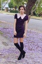 purple Faith & Lola dress - black wedges Target boots