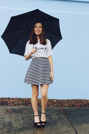 black heels Jo Mercer shoes - black striped asos skirt