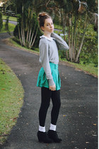 aquamarine green OASAP skirt - silver cashmere thrifted sweater