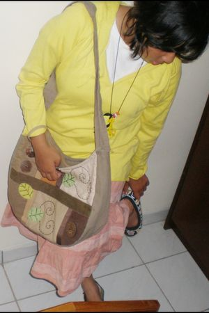 white t-shirt - yellow jacket - yellow necklace - beige skirt - black shoes - br