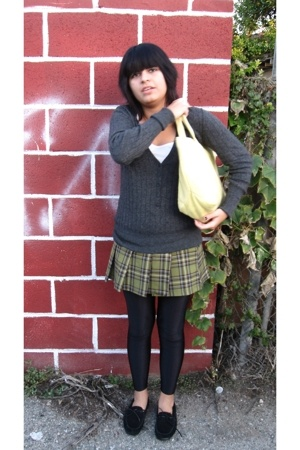 Split top - mossimo supply co sweater - salt & pepper skirt - tights - shoes - p