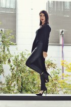 black cotton on jeans - black asos sweater - black asos belt - Nasty Gal heels