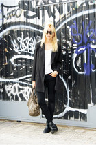 black Topshop blazer - H&M boots - ivory Zara shirt - Topshop pants