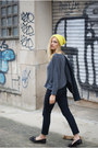 Topshop jeans - yellow H&M hat - romwe jumper - Topshop flats