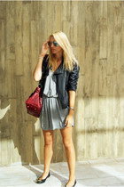 Topshop dress - Zara jacket - balenciaga bag - Primark flats
