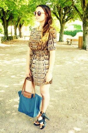 longchamp bag - H&M dress - coral glasses Pimkie sunglasses - Faith heels