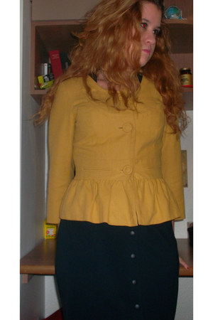 navy Mango dress - mustard Topshop jacket - black oxford elle wedges