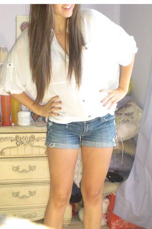 white Forever 21 shirt - blue DIY shorts
