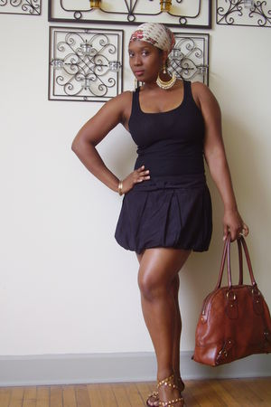 black banana republic top - black Forever 21 skirt - brown unknown brand shoes