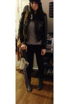 black Max Azria jacket - blue Gap shirt - black Max Azria pants - silver Aldo bo