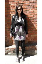 silver Urban Outfitters dress - black Max Azria jacket - black Old Navy cardigan