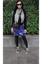blue dress - black Max Azria jacket - black leggings - silver scarf - black shoe