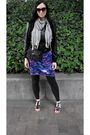 Blue-dress-black-max-azria-jacket-black-leggings-silver-scarf-black-shoe