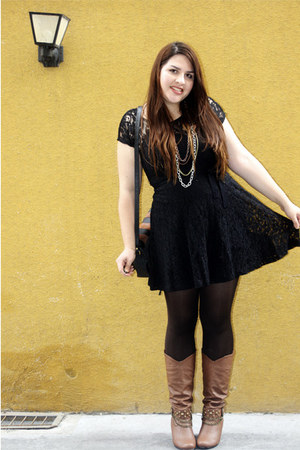 black black lace Forever 21 dress - brown Charming Charlie boots