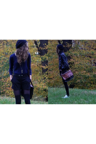 black H&M hat - navy H&M sweater - brown Primark bag - black Cubus shorts