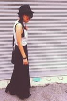 black H&M boots - black jersey maxi Secondhand dress