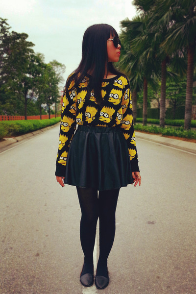 black Uniqlo leggings - bart simpson Tea Leaves Boutique sweater