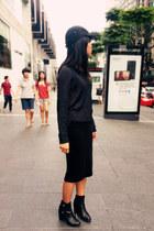 black H&M boots - black cap H&M hat - navy knitted H&M sweater - black H&M skirt