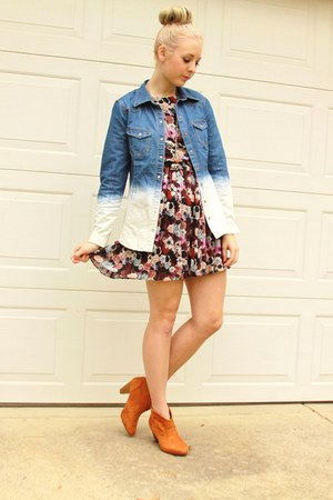 ombre denim shirt - floral print dress