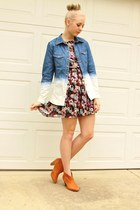 ombre denim shirt - floral print dress