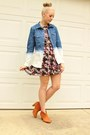 Floral-print-dress-ombre-denim-shirt