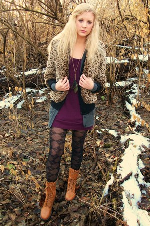 feather Forever 21 necklace - camel lace up boots - purple dress